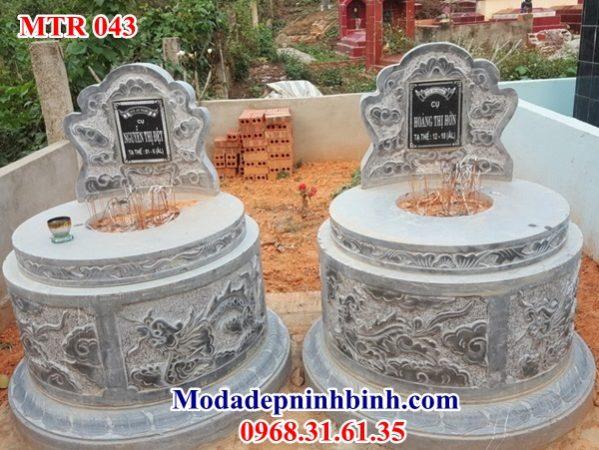 Mẫu mộ đôi đá tròn 043