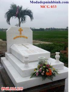 Mộ công giáo đá trắng 032