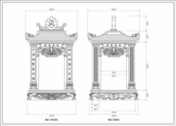 Bản thiết kế miếu Thần Hổ ở tỉnh Bạc Liêu
