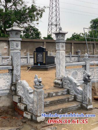 Cột cổng đá đơn giản đẹp khu mộ gia đình