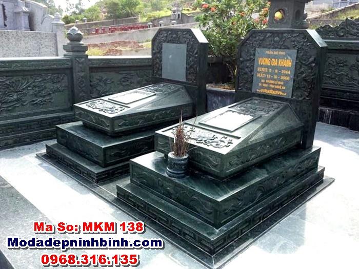 lăng mộ đá xanh rêu tam cấp MKM 138