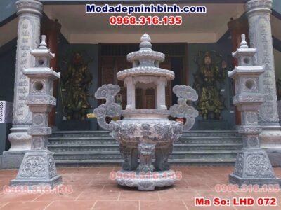lư đỉnh hương đá chùa Linh Cốc Bắc Ninh