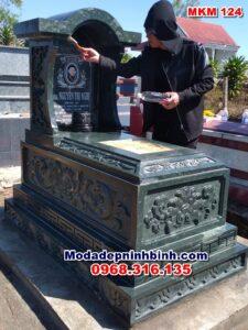 mẫu mộ đá xanh rêu đẹp ninh bình MKM 124