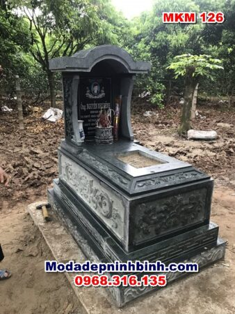 mộ đá xanh rêu mái vòm thanh hóa mkm 126