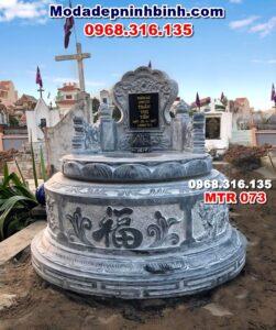 mộ tròn đá xanh nguyên khối mtr 073
